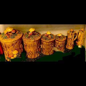 1970 vintage wood and mushroom canisters ceramic